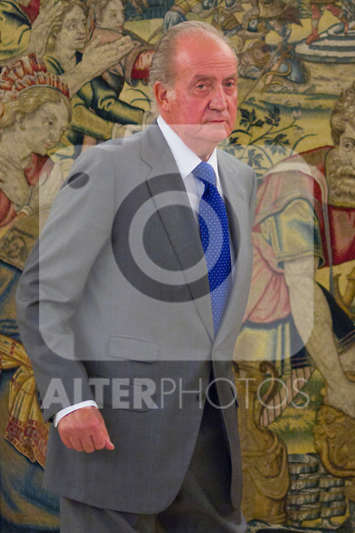 25.07.2012. King Juan Carlos of Spain attends audiences wich Directors and Management Committee Press Malaga, on the occasion of 75 anniversary of the newspaper Sur, chaired by Mr Enrique de Ybarra e Ybarra at Zarzuela Palace. In the image Juan Carlos I (Alterphotos/Marta Gonzalez)