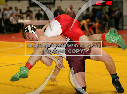 Alex Steciuk and Derek Wignall wrestle at the 160 weight class during the NY State Wrestling Championships at Blue Cross Arena on March 8, 2008 in Rochester, New York.  (Copyright Mike Janes Photography)