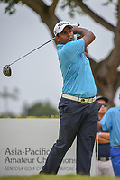Rayhan THOMAS (IND) watches his tee shot on 12 during Rd 4 of the Asia-Pacific Amateur Championship, Sentosa Golf Club, Singapore. 10/7/2018.<br /> Picture: Golffile | Ken Murray<br /> <br /> <br /> All photo usage must carry mandatory copyright credit (© Golffile | Ken Murray)