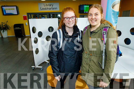 Packing up students Mackenzie Lennox and Casey Heaslip in the library at the IT Tralee on Thursday.