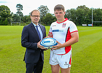 Monday 12th August 2019 | Ulster Schools U18<br /> <br /> Omagh Academy and Ulster Schools U18 player David Braden is pictured with Richard Caldwell representing the sponsors Danske Bank during a photo call at the Ulster Schools training base at Newforge Country Club, Belfast, Northern Ireland. Photo by John Dickson / DICKSONDIGITAL