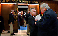 TALLAHASSEE, FL. 4/23/04-Senate President Jim King, R-Jacksonville, right, talks with House Policy Chair Dudley Goodlette, R-Naples, about issues between the two chambers that must be resolved before the scheduled April 30 adjournment of the legislature, Friday at the Capitol in Tallahassee. COLIN HACKLEY PHOTO