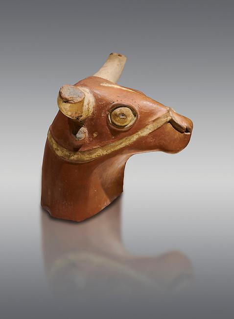 Hittite terra cotta bull head - 17th -16th century BC- Hattusa ( Bogazkoy ) - Museum of Anatolian Civilisations, Ankara, Turkey . Against gray background