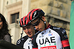 Dan Martin (IRL) and Fabio Aru (ITA) UAE Team Emirates at sign on before the start of the 112th edition of Il Lombardia 2018, the final monument of the season running 241km from Bergamo to Como, Lombardy, Italy. 13th October 2018.<br /> Picture: Eoin Clarke | Cyclefile<br /> <br /> <br /> All photos usage must carry mandatory copyright credit (© Cyclefile | Eoin Clarke)