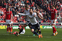 Bolton Wanderers' Adam Le Fondre celebrates his sides second  goal<br /> <br /> Photographer Rachel Holborn/CameraSport<br /> <br /> The EFL Sky Bet Championship - Barnsley v Bolton Wanderers - Saturday 14th April 2018 - Oakwell - Barnsley<br /> <br /> World Copyright &copy; 2018 CameraSport. All rights reserved. 43 Linden Ave. Countesthorpe. Leicester. England. LE8 5PG - Tel: +44 (0) 116 277 4147 - admin@camerasport.com - www.camerasport.com