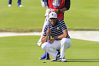 Tony Finau Team USA on the 18th green during Friday's Fourball Matches at the 2018 Ryder Cup, Le Golf National, Iles-de-France, France. 28/09/2018.<br /> Picture Eoin Clarke / Golffile.ie<br /> <br /> All photo usage must carry mandatory copyright credit (© Golffile | Eoin Clarke)