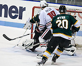 Ben McFarlane (St. Thomas - 31), Wade MacLeod (NU - 19), Keith Wynn (St. Thomas - 20) - The Northeastern University Huskies defeated the St. Thomas Tommies 7-5 in their exhibition match on Saturday, October 3, 2009, at Matthews Arena in Boston, Massachusetts.