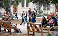 Occidental College students meet in the Academic Quad during lunch on the first back from Winter break, Jan. 20, 2015.  (Photo by Marc Campos, Occidental College Photographer)
