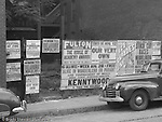 Pittsburgh PA:  Event Posters covering a lot on Forbes Avenue near Magee Street - 1950.