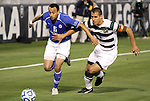 09 December 2011: Creighton's Dion Acoff (6) and UNCC's Charles Rodriguez (4). The Creighton University Bluejays played the University of North Carolina Charlotte 49ers to a 0-0 overtime tie, the 49ers won the penalty shootout 4-1 to advance at Regions Park in Hoover, Alabama in an NCAA Division I Men's Soccer College Cup semifinal game.