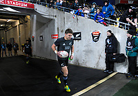 Beauden Barrett runs out to warm up for the Steinlager Series international rugby match between the New Zealand All Blacks and France at Westpac Stadium in Wellington, New Zealand on Saturday, 16 June 2018. Photo: Dave Lintott / lintottphoto.co.nz