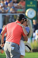 Jon Rahm (ESP) celebration on the18th green with his fiancee during the final round of the DP World Championship, Earth Course, Jumeirah Golf Estates, Dubai, UAE. 24/11/2019<br /> Picture: Golffile | Phil INGLIS<br /> <br /> <br /> All photo usage must carry mandatory copyright credit (© Golffile | Phil INGLIS)