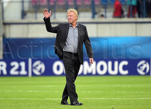 27.06.2015. Andruv Stadium, Olomouc, Czech Republic. U21 European championships, semi-final. Portugal versus Germany.  Trainer Horst Hrubesch (Germany)  frustrated after the game which they lost 5-0
