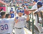 Yu Darvish (Rangers),<br /> APRIL 13, 2017 - MLB :<br /> Texas Rangers starting pitcher Yu Darvish high-fives teammates in the dugout after the bottom of the seventh inning during the Major League Baseball game against the Los Angeles Angels of Anaheim at Angel Stadium of Anaheim in Anaheim, California, United States. (Photo by AFLO)