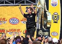 Aug 21, 2016; Brainerd, MN, USA; NHRA  funny car driver Bob Bode during the Lucas Oil Nationals at Brainerd International Raceway. Mandatory Credit: Mark J. Rebilas-USA TODAY Sports