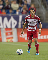 FC Dallas midfielder Daniel Cruz (7) brings the ball forward. In a Major League Soccer (MLS) match, the New England Revolution defeated FC Dallas, 2-0, at Gillette Stadium on September 10, 2011.