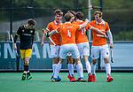 BLOEMENDAAL -  Florian Fuchs (Bldaal) brengt de stand op 1-0   tijdens de hoofdklasse competitiewedstrijd hockey heren,  Bloemendaal-Den Bosch (2-1).    COPYRIGHT KOEN SUYK