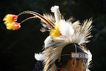 Detail of headress of young boy in traditional costume at the Depoe Bay Salmon Bake, Depoe Bay, Oregon