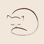 Cute snuggly sleeping cat artistic oriental style illustration design based on original sumi artwork brown art isolated on beige background