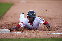 Peoria Javelinas outfielder Phillip Ervin (9) dives back to first during an Arizona Fall League game against the Mesa Solar Sox on October 21, 2015 at Peoria Stadium in Peoria, Arizona.  Peoria defeated Mesa 5-3.  (Mike Janes/Four Seam Images)