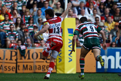 16.04.2011.  Henry Trinder breaks last defender Ben Youngs' tackle to score for Gloucester.Aviva Premiership Rugby Union from Welford Road on 16 April 2011.  Final score: Leicester Tigers 41-41 Gloucester Rugby.