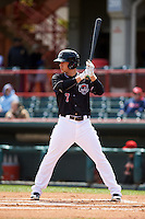 Erie Seawolves outfielder Jason Krizan (7) at bat during a game against the Richmond Flying Squirrels on May 20, 2015 at Jerry Uht Park in Erie, Pennsylvania.  Erie defeated Richmond 5-2.  (Mike Janes/Four Seam Images)
