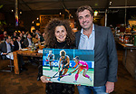 VOGELENZANG - Maria Verschoor (Ned) met 100 interlands met Jeroen Bijl.  Spelerslunch KNHB 2019.   COPYRIGHT KOEN SUYK