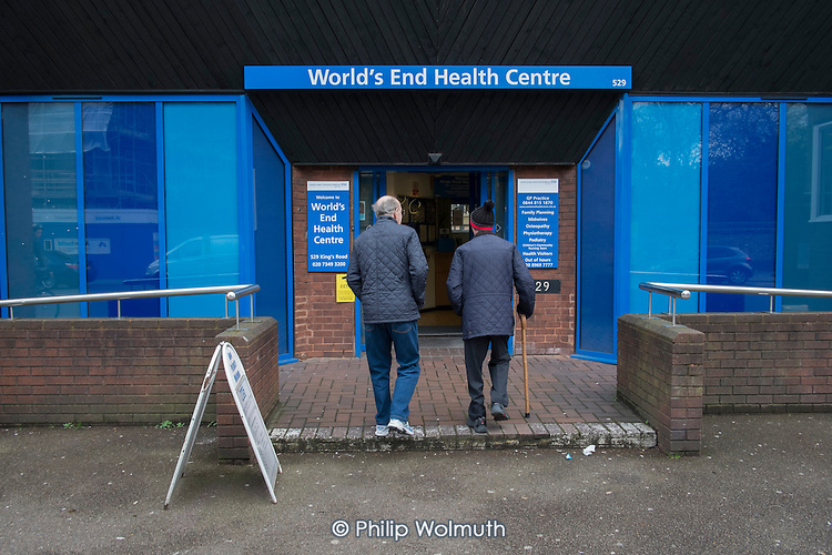 Elderly man with a walking stick, World's End Health Centre, Chelsea, London.