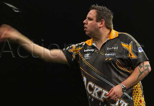 31.03.2016. The Motorpoint Arena, Cardiff.  Betway PDC Premier League Darts Judgement Night. Adrian Lewis in action tonight