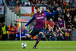 Gerard Pique Bernabeu of FC Barcelona looks to bring the ball down during the La Liga match between Barcelona and Real Sociedad at Camp Nou on May 20, 2018 in Barcelona, Spain. Photo by Vicens Gimenez / Power Sport Images