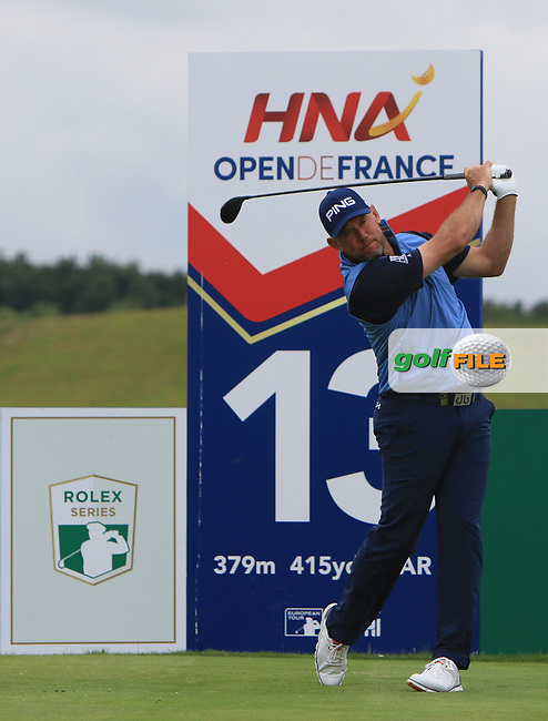 Lee Westwood (ENG) on the 13th tee during Round 3 of the HNA Open De France  at The Golf National on Saturday 1st July 2017.<br /> Photo: Golffile / Thos Caffrey.<br /> <br /> All photo usage must carry mandatory copyright credit      (&copy; Golffile | Thos Caffrey)