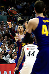 Barcelona's Victor Claver, Real Madrid's Jeffery Taylor and Barcelona's Ante Tomic during Liga Endesa match between Real Madrid and FC Barcelona Lassa at Wizink Center in Madrid, Spain. March 24, 2019.  (ALTERPHOTOS/Alconada)