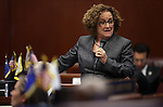 Nevada Sen. Debbie Smith, D-Sparks, speaks on the Senate floor during the final day of the 77th Legislative session at the Legislative Building in Carson City, Nev., on Monday, June 3, 2013. The Senate approved Smith's bill allowing Washoe County commissioners to raise taxes for school maintence projects. (AP Photo/Cathleen Allison)