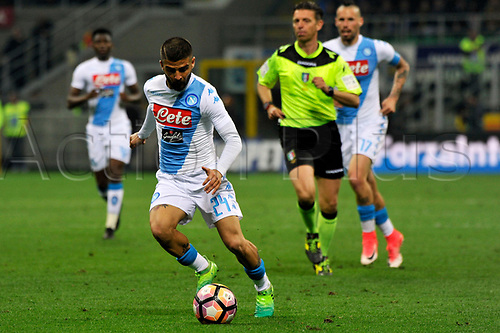 April 30th 2017, San Siro Stadium, Milan, Italy; Lorenzo Insigne of Napoli in action during the Serie A football match, Inter Milan versus Napoli;