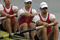 Munich, GERMANY, 2006, FISA, Rowing, World Cup, CAN M4- Bow  Scott Frandsen, 2. Peter Dembicki, 3. Ben Ruttledge and kyle Hamilton. .  held on the Olympic Regatta Course, Munich, Thurs. 25.05.2006. © Peter Spurrier/Intersport-images.com,  / Mobile +44 [0] 7973 819 551 / email images@intersport-images.com..[Mandatory Credit, Peter Spurier/ Intersport Images] Rowing Course, Olympic Regatta Rowing Course, Munich, GERMANY