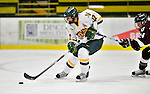 9 October 2009: University of Vermont forward Celeste Doucet, a Junior from Memramcook, New Brunswick, moves in to score a shorthanded goal in the first period against the Union Dutchwomen at Gutterson Fieldhouse in Burlington, Vermont. The Catamounts shut out the visiting Dutchwomen 2-0 to start off the Cats' 2009 season. Mandatory Credit: Ed Wolfstein Photo