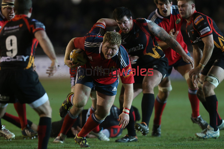 Munster prop Stephen Archer on the charge.<br /> RaboDirect Pro12<br /> Newport Gwent Dragons v Munster<br /> Rodney Parade - Newport<br /> 29.11.13<br /> ©Steve Pope-SPORTINGWALES
