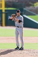 Scottsdale Scorpions relief pitcher Chase Johnson (31), of the San Francisco Giants organization, gets ready to deliver a pitch during an Arizona Fall League game against the Glendale Desert Dogs at Camelback Ranch on October 16, 2018 in Glendale, Arizona. Scottsdale defeated Glendale 6-1. (Zachary Lucy/Four Seam Images)