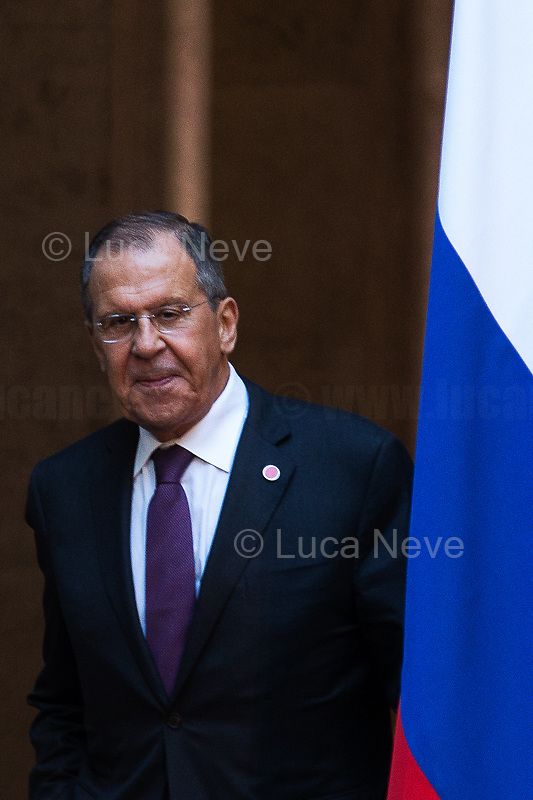 Sergey Lavrov (Minister of Foreign Affairs of the Russian Federation).<br /> <br /> Russian Delegation.<br /> <br /> Rome, 04/07/2019. Today, the four-time President of the Russian Federation, Vladimir Putin, visited Palazzo Chigi (Official Residence of the Italian Prime Minister and official meeting place of the Council of the Ministers) where he had a private meeting and a press conference with the Italian Prime Minister, Giuseppe Conte. During his visit to Italy, President Putin met Pope Francis, the President of the Italian Republic, Sergio Mattarella, and his old friend and Italian politician, Silvio Berlusconi.   <br /> <br /> Footnotes and Links:<br /> For a Video of the Press Conference please click here (Source, Palazzo Chigi on Youtube): https://youtu.be/4Bdssi0L9PI