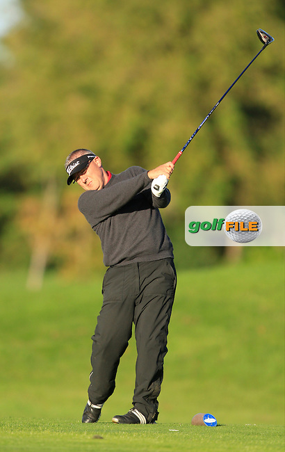 Gerry Burke (Curragh G.C) on the 13th tee during Round 1 of The Cassidy Golf 103rd Irish PGA Championship in Roganstown Golf Club on Thursday 10th October 2013.<br /> Picture:  Thos Caffrey / www.golffile.ie