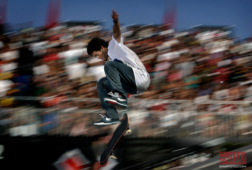LOS ANGELES,CA - AUGUST 1,2008: X Games Skateboard competitor Paul Rodriguez,23, during Street finals during 14th Summer X Games, August 1, 2008. Rodriguez finished second.