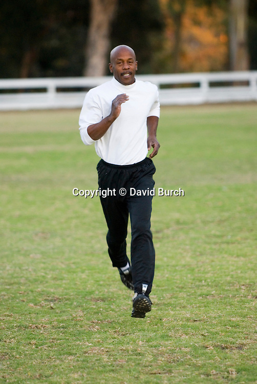 African American man sprinting