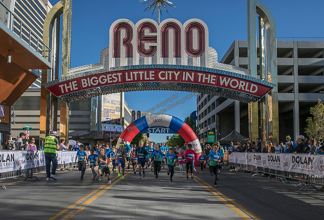 The start of the junior mile portion of the Downtown River Run on Sunday, April 30, 2017 in Reno, Nevada.