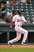 Designated hitter Yoan Aybar (21) of Greenville Drive bats in a game against the Asheville Tourists on Wednesday, May 3, 2017, at Fluor Field at the West End in Greenville, South Carolina. Greenville won, 8-0. (Tom Priddy/Four Seam Images)