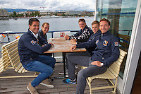 Swiss, Genève, September 14, 2015, Tennis,   Davis Cup, Swiss-Netherlands, Dutch team on a boat trip, ltr: Jesse Huta Galung, Thiemo de Bakker, Tim van Rijthoven , Tallon Griekspoor and Matwe Midelkoop<br />