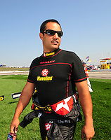 Sept. 28, 2008; Kansas City, KS, USA; Nascar Sprint Cup Series driver Juan Pablo Montoya prior to the Camping World RV 400 at Kansas Speedway. Mandatory Credit: Mark J. Rebilas-