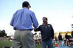 09 October 2014: Wake Forest head coach Tony da Luz (right) shakes hands with UNC head coach Anson Dorrance (left). The University of North Carolina Tar Heels hosted the Wake Forest University Demon Deacons at Fetzer Field in Chapel Hill, NC in a 2014 NCAA Division I Women's Soccer match. UNC won the game 3-0.