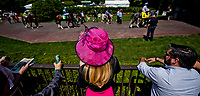 ELMONT, NY - JUNE 10: A woman watches the horse walk around the paddock on Belmont Stakes Day at Belmont Park on June 10, 2017 in Elmont, New York (Photo by Scott Serio/Eclipse Sportswire/Getty Images)