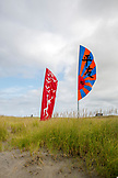 USA, Washington State, Long Beach Peninsula, kites fly in the wind at the International Kite Festival