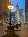 Chicago, Illinois<br /> View of the Wrigley Building on Michigan Avenue at night